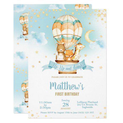 Hot Air Balloon Birthday Party Cute Baby Animals Invitation | Zazzle.com