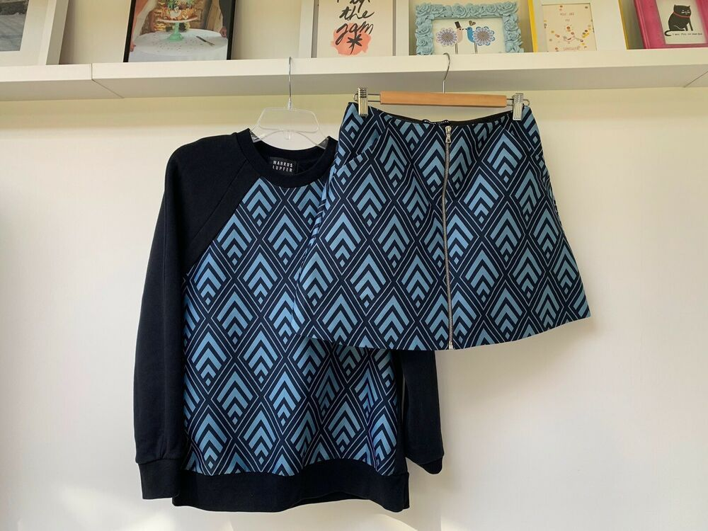 Markus Lupfer Geometric Sweater & Skirt Set NEW Medium