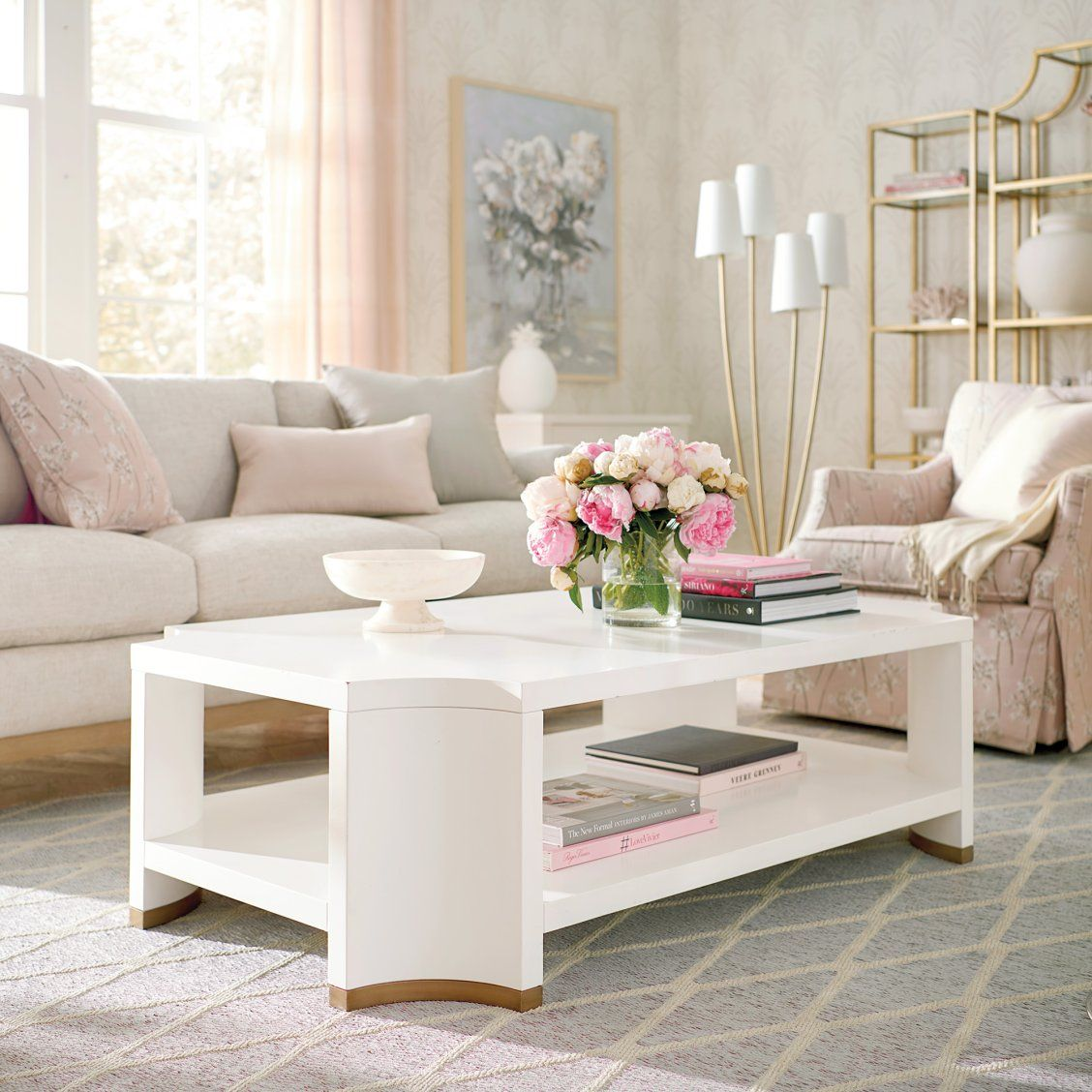 Phoebe White Coffee Table In 2020 Living Room Console Rectangle
