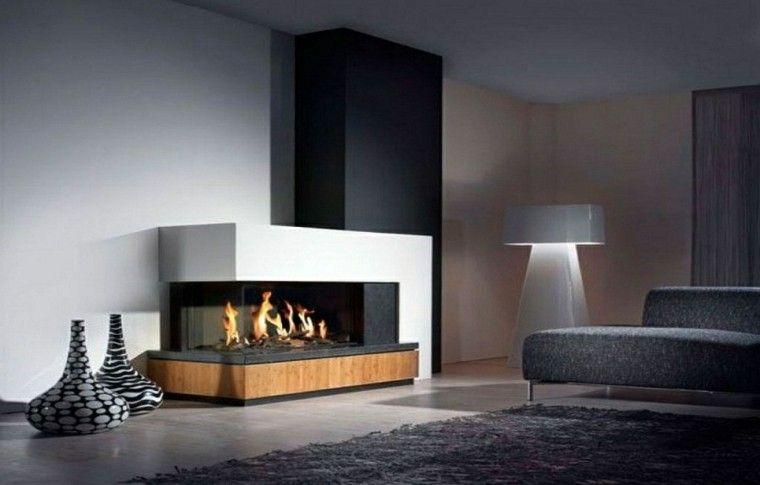 diseo chimeneas modernas jarrones madera alfombra - Chimenea Moderna