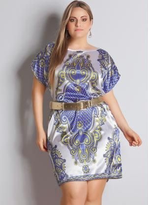 Vestido de seda estampado plus size