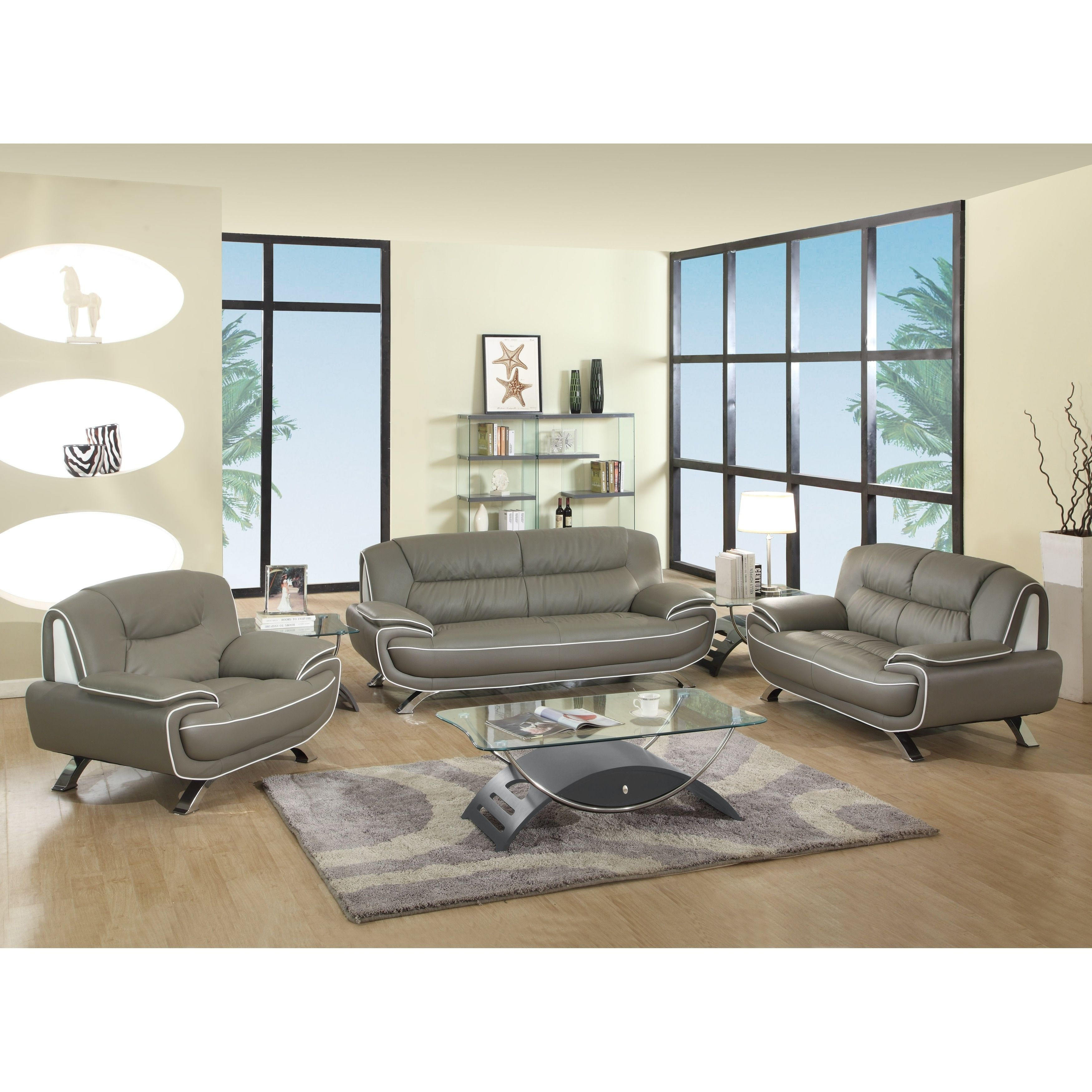 Global United Industries Olympia Luxury Leather Match Upholstered 3