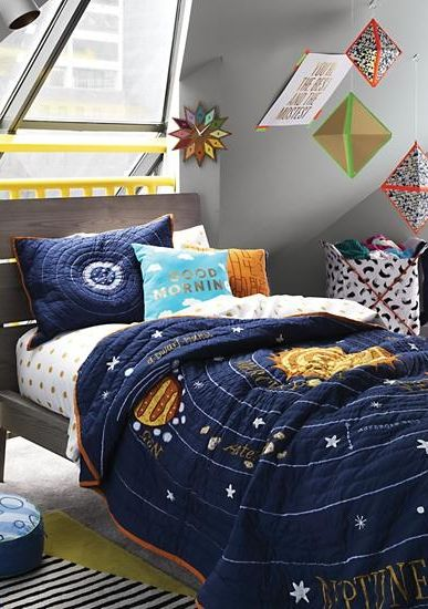 Kids Blue Solar System Bedding Crate And Barrel Bedroom Themes