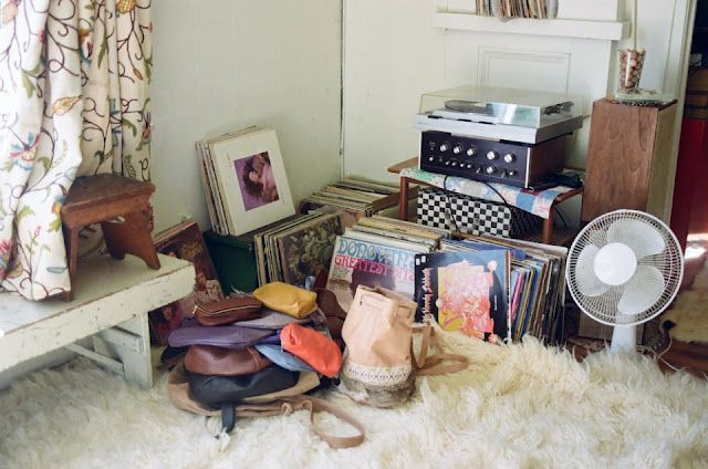 Vinyl collection and sheepskin rug