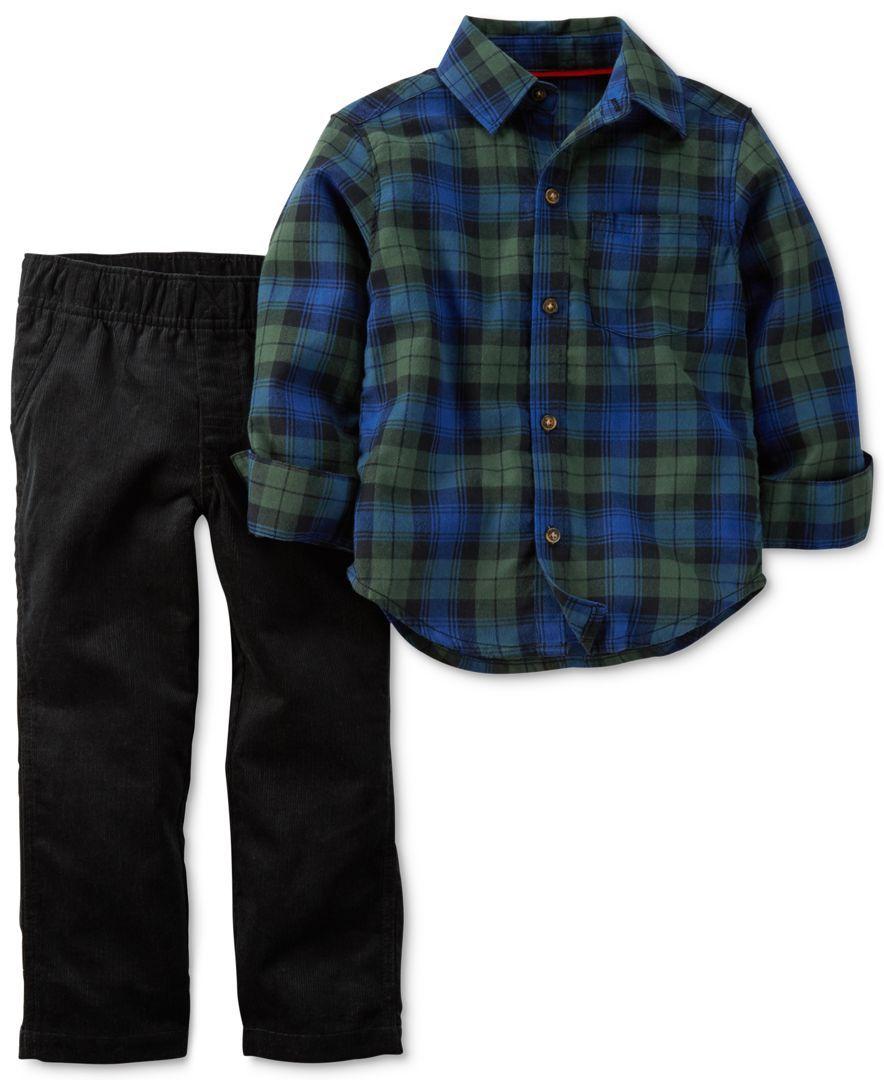 Flannel shirt for baby boy  Carterus Toddler Boysu Piece Plaid Shirt u Pants Set  Products