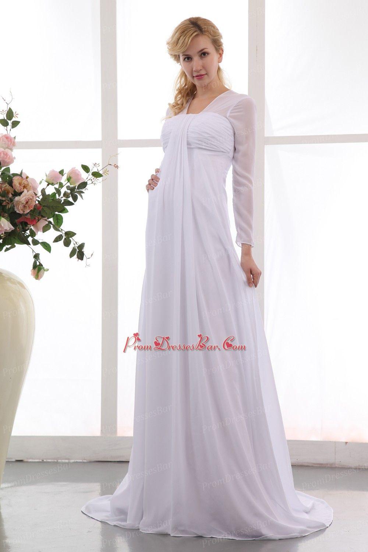 Short maternity wedding dresses  Modest Wedding dresses  Modest Long Sleeves Front Drap White