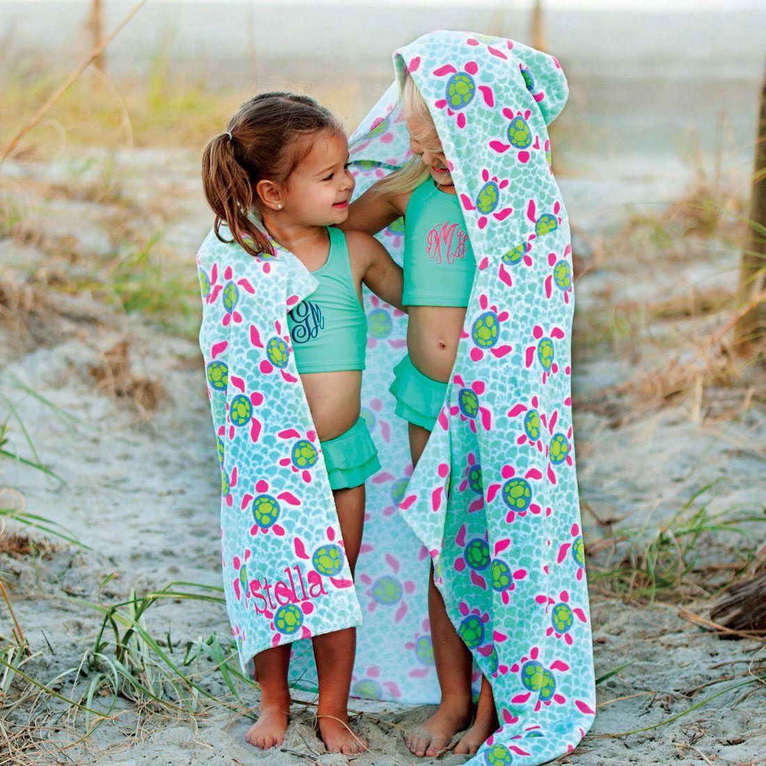 Turtle s Towel Hooded Beach Towel Girl s Beach Towel Monogram