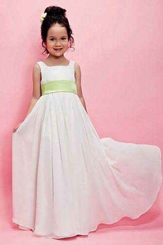 Ivory Floor-length Chiffon Flower Girl Dress with Lime Green Belt | LynnBridal.com