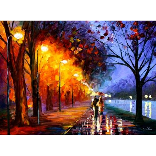 """Model Of """"Alley By the Lake"""" Recreational Oil Painting on Canvas By Leonid Afremov For Your House - New lake painting Trending"""