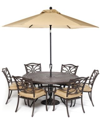 "Kingsley Outdoor Cast Aluminum 7 Pc Dining Set 60"" Round Dining"