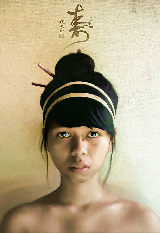 """Paint Study 16"" - Christophe {figurative realism art beautiful female head woman face portrait cropped digital painting #loveart} christobaldo1971.deviantart.com"