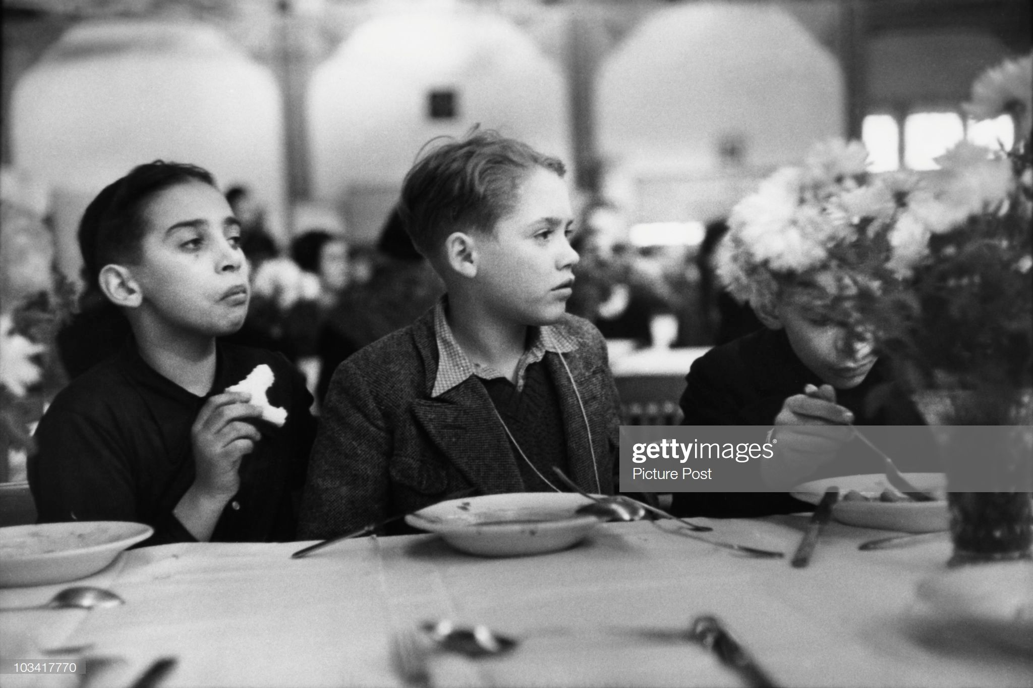Jewish children eat lunch in the dining room of Dovercourt