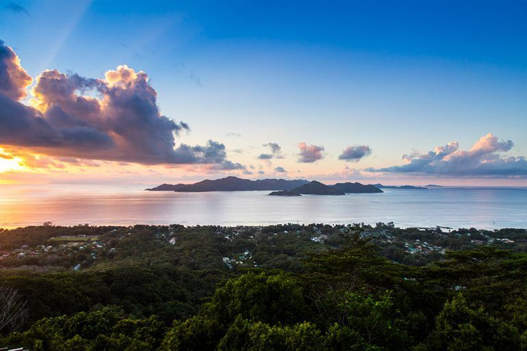 Arguably the best viewsite on La Digue is high up above the town, where a restaurant serves drinks and food to those that make the trek.
