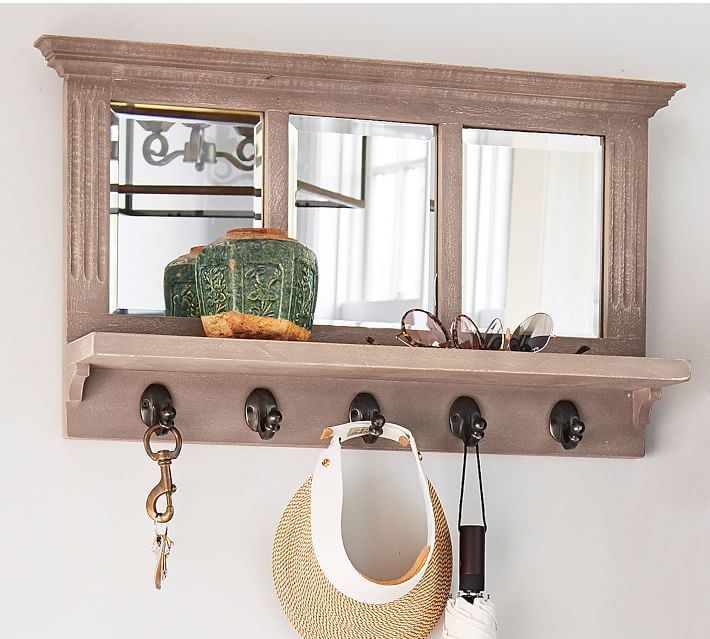 Fresh Entry Mirror with Hooks White