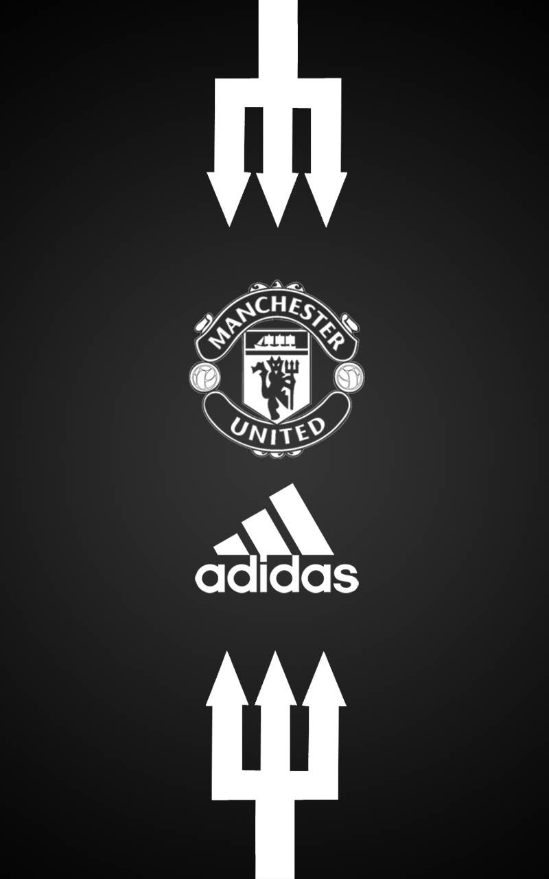 Manchester United Adidas Android Wallpaper Black Manchester United Sepak Bola Papan