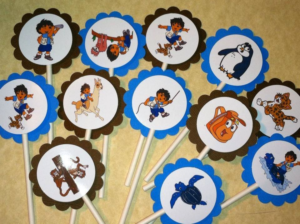Personalized Go Diego Go Cupcake Toppers Birthday Cake Party - Dora birthday cake toppers
