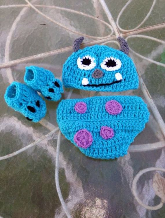 870406ee137 Crochet Sully inspired from Monsters Inc and Monsters University photo prop  set (Costume) Newborn-3mths  29.99 photo prop set will be perfect