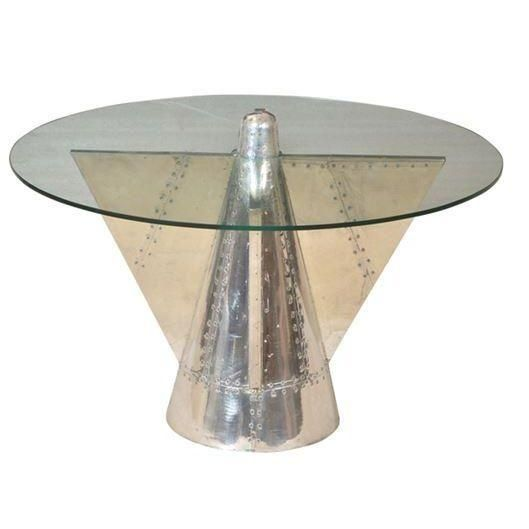 Image Of Aviator Riveted Metal U0026 Glass Coffee Table