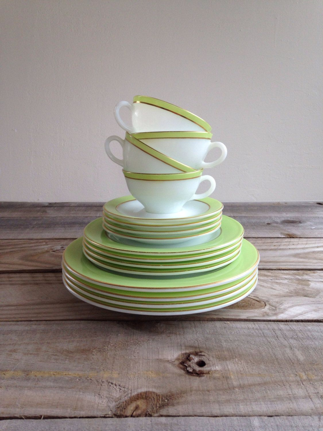 Vintage Pyrex Dishes 4 Place settings Dinner Lunch Saucer and Cup Lime Green Dinnerware Pyrex White and Gold Matching Pyrex by webecharmed on Etsy & Vintage Pyrex Dinnerware Lime Green with Gold Band 1953 4 Place ...