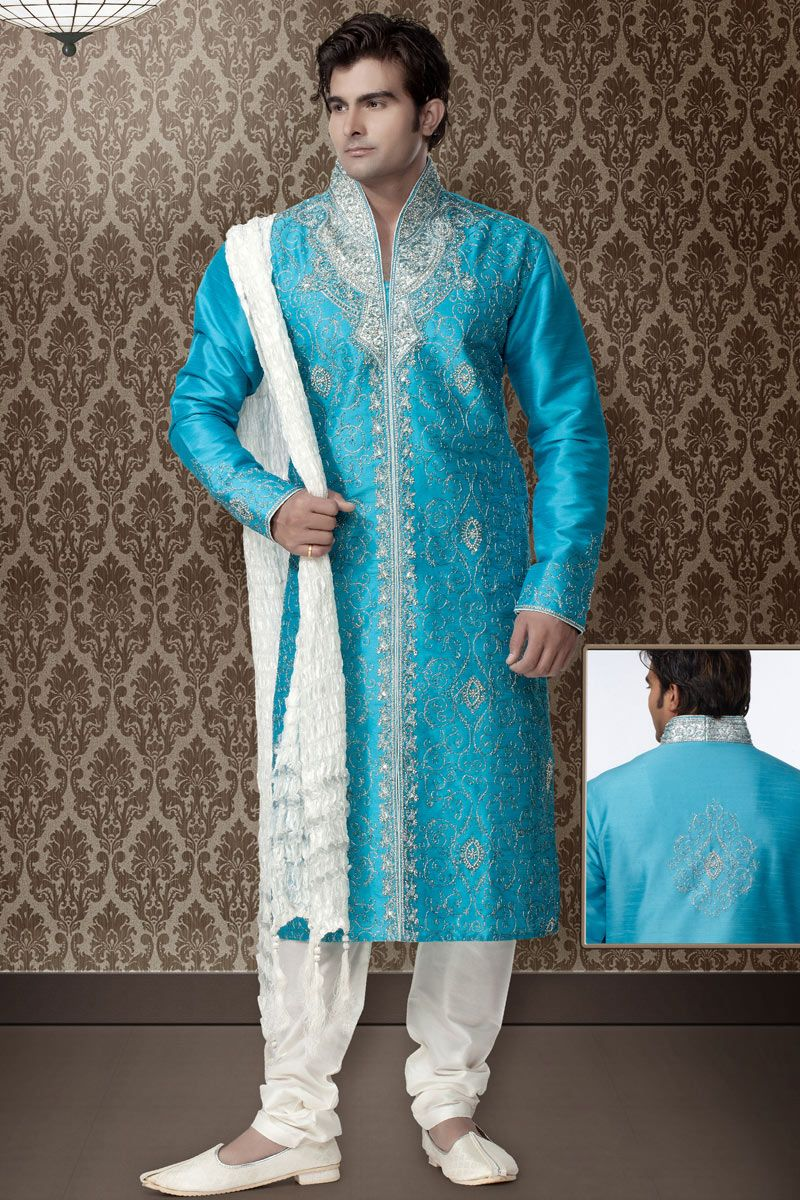 Sky blue sherwani collections | Stuff to Buy | Pinterest | Sherwani ...