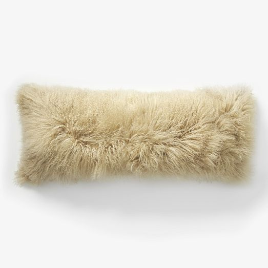 Real Natural White Mongolian 12 x 24 Lamb Fur Pillow made in usa Tibet cushion