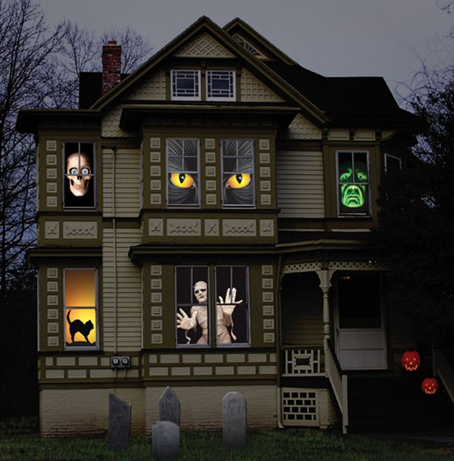 Idee TV dans fenetre Halloween Pinterest Halloween night - halloween window clings