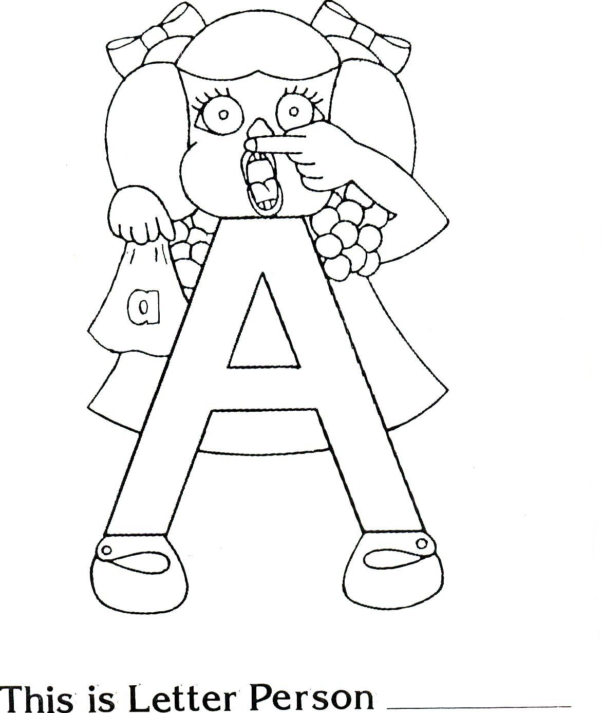 Brilliant Beginnings Preschool: Letter Person A Coloring Pages and ...