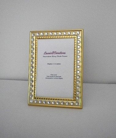 Gold Bling Picture Frame Gold W Clear Rhinestones By