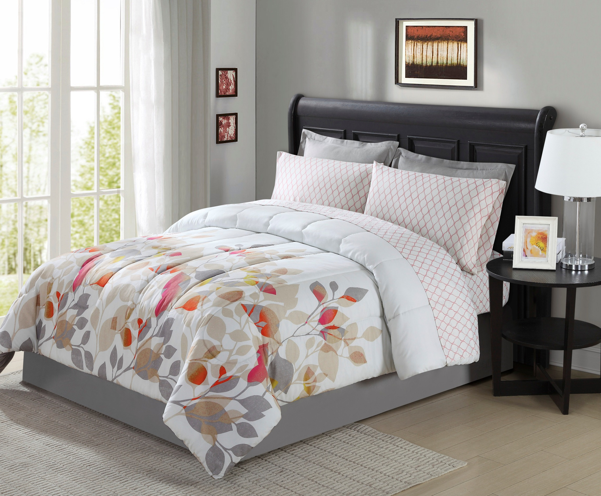 Colormate Bree Complete Bedding Set White Floral Bedding Sets