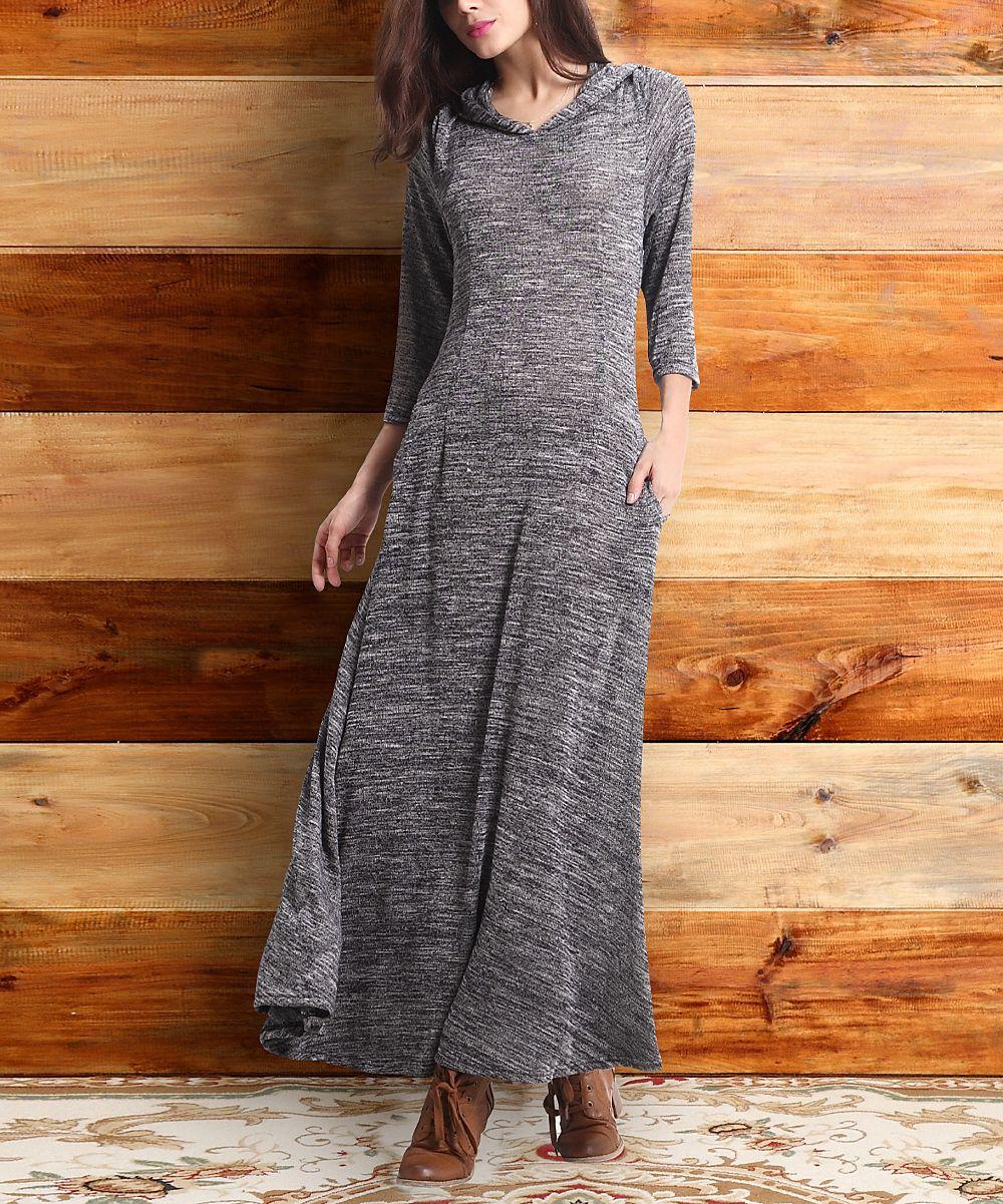 Charcoal mélange hooded maxi dress patterns pinterest maxi dresses