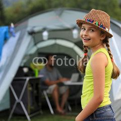 Summer in the tent - girl with family...like the cut of the tank top. Maybe not the straw hat though I like the flair of an accessory for off to summer camp. Even a baseball cap with no logo might work.