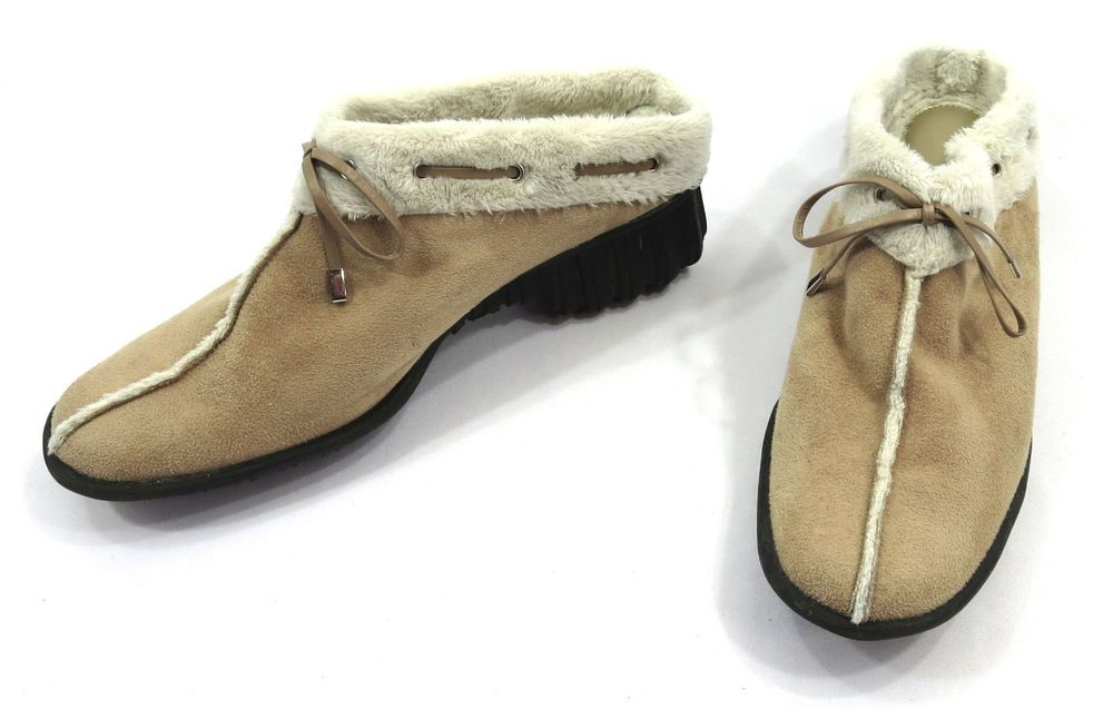 627864ddc39 Vaneli Shoes Size 8 N Womens Clogs Beige Camel Suede Faux Fur Lined ...