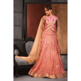 Pink raw silk choli with peach lace flared lehenga