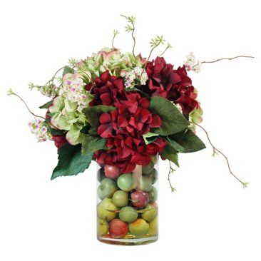 """Check out this item at One Kings Lane! 18"""" Hydrangeas & Crab Apples in Vase"""