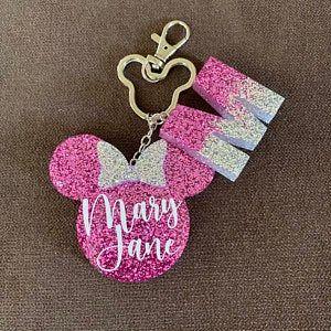 Photo of Custom Minnie Mouse Resin Glitter Keychain