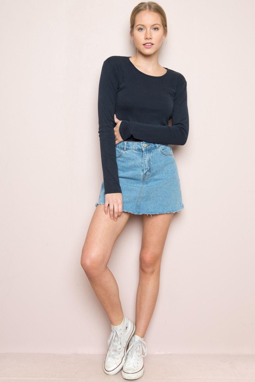 89b7407e2114 Brandy ♥ Melville | Juliette Denim Skirt - Clothing | style in 2019 ...