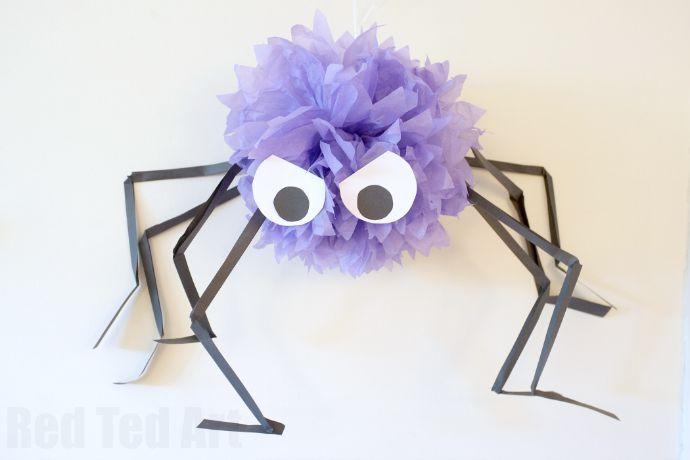 Easy Giant Pom Pom Spiders for Halloween Spider, Halloween parties - spiders for halloween decorations