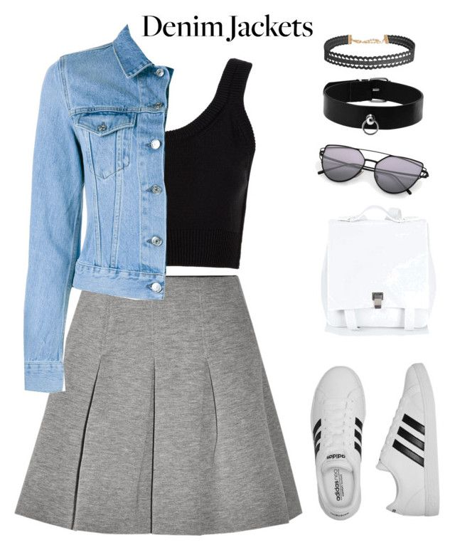 """Untitled #129"" by apeksha-singh-parikh ❤ liked on Polyvore featuring T By Alexander Wang, Calvin Klein Collection, Acne Studios, Humble Chic, adidas, Proenza Schouler, denimjackets and WardrobeStaples"