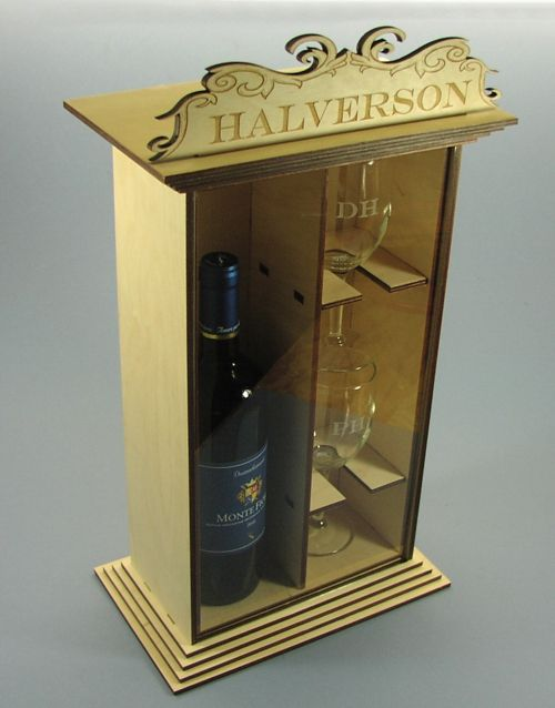 Fancy Wine Gift Box With 2 Laser Etched Wine Glasses Raynor Shine