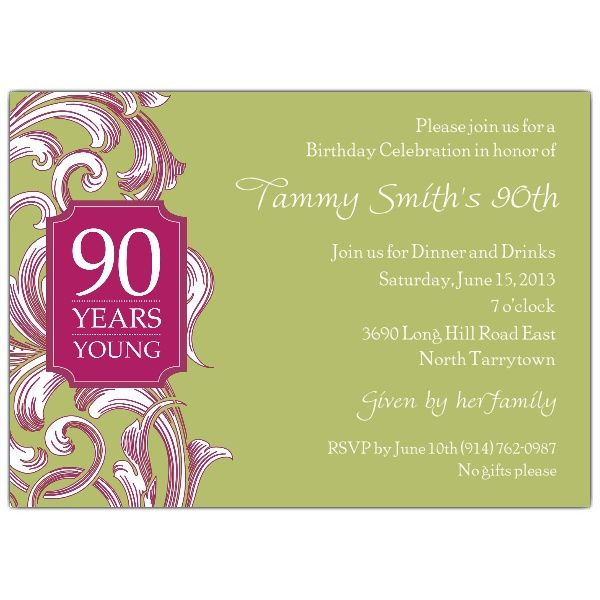 90 birthday invitations | invitations 90th birthday invitations, Birthday invitations