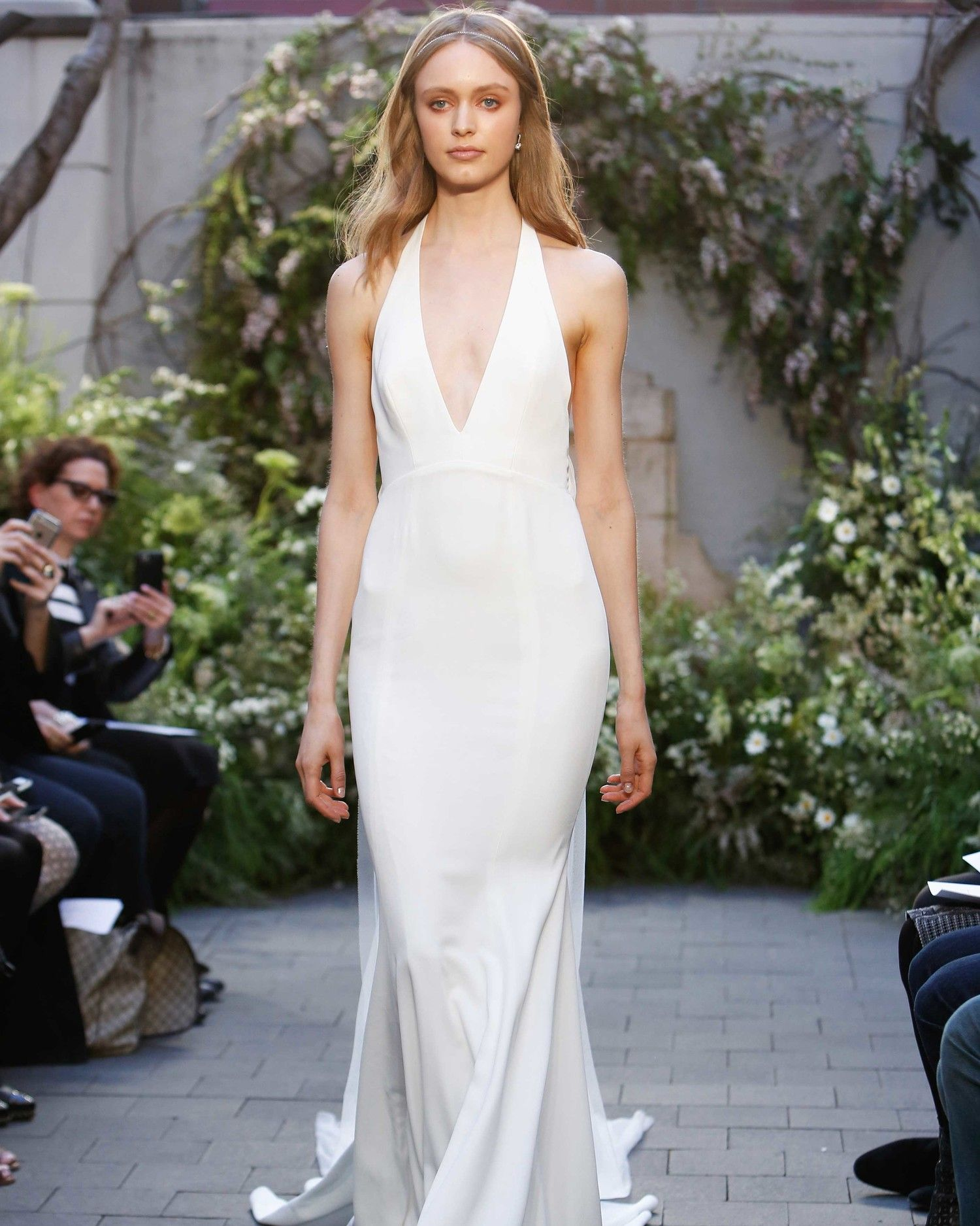 Marlowe A Silk White Crepe Halter Gown With Plunging V Neck From Monique Lhuillier Spring 2017 Collection Boasts Simple Tulle Train