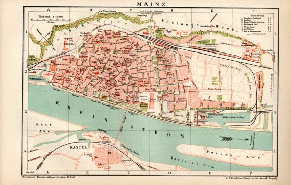 Mainz Germany Antique Map Vintage Lithograph By Craftissimo - Germany map mainz