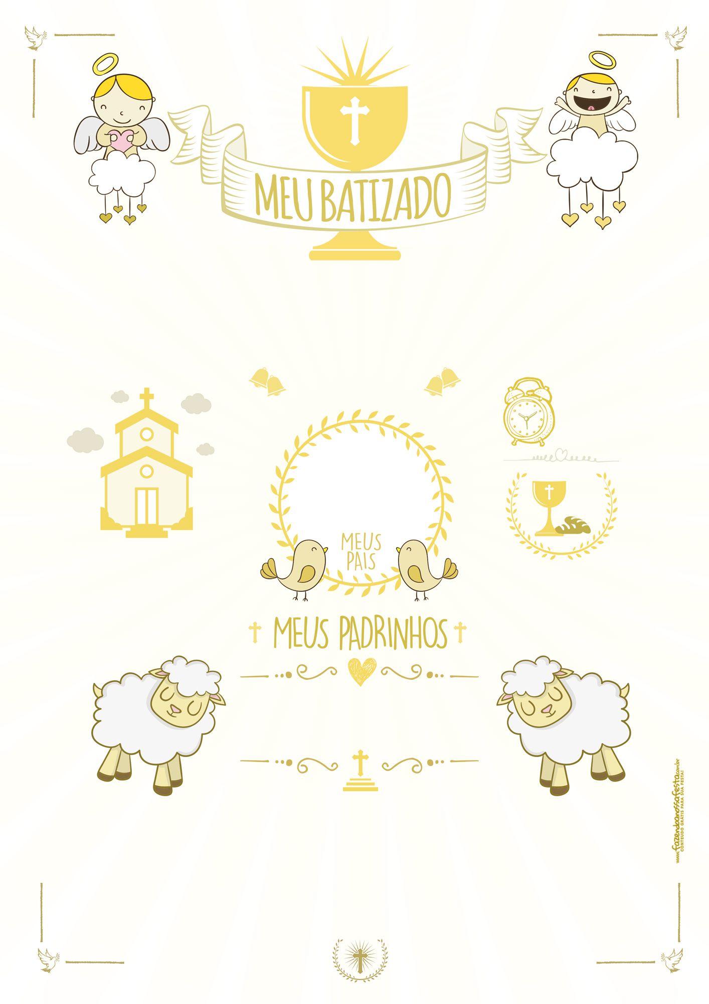 Quadro Batizado Branco E Dourado проекти Pinterest Baby