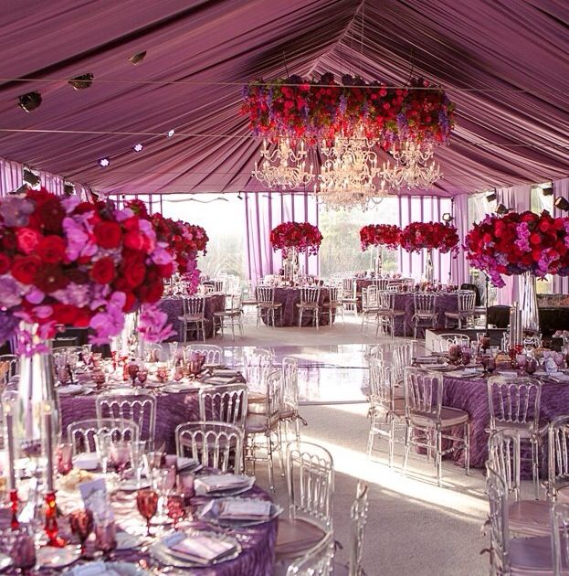 Red Wedding Ideas Reception: Purple And Red Combination