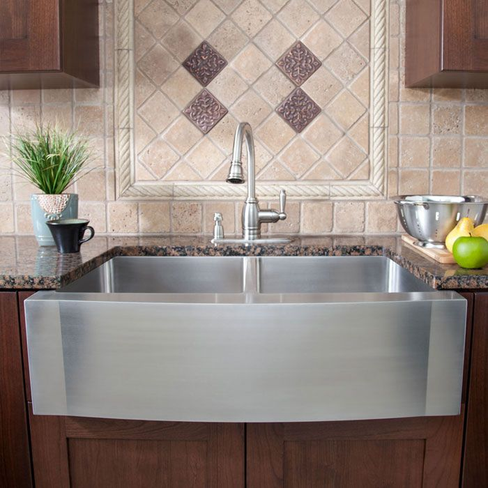 """42"""" Optimum Stainless Steel 50/50 Double Well Wave Apron Farmhouse Sink"""