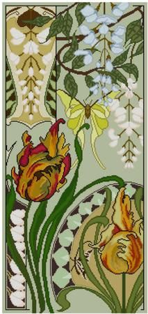 Floral Art Nouveau Panel Cross Stitch Pattern Pdf Wisteria
