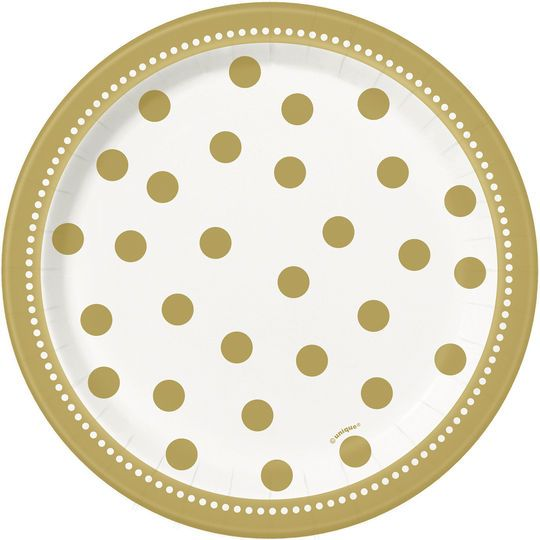 "7"" Golden Birthday Party Plates, 8ct"