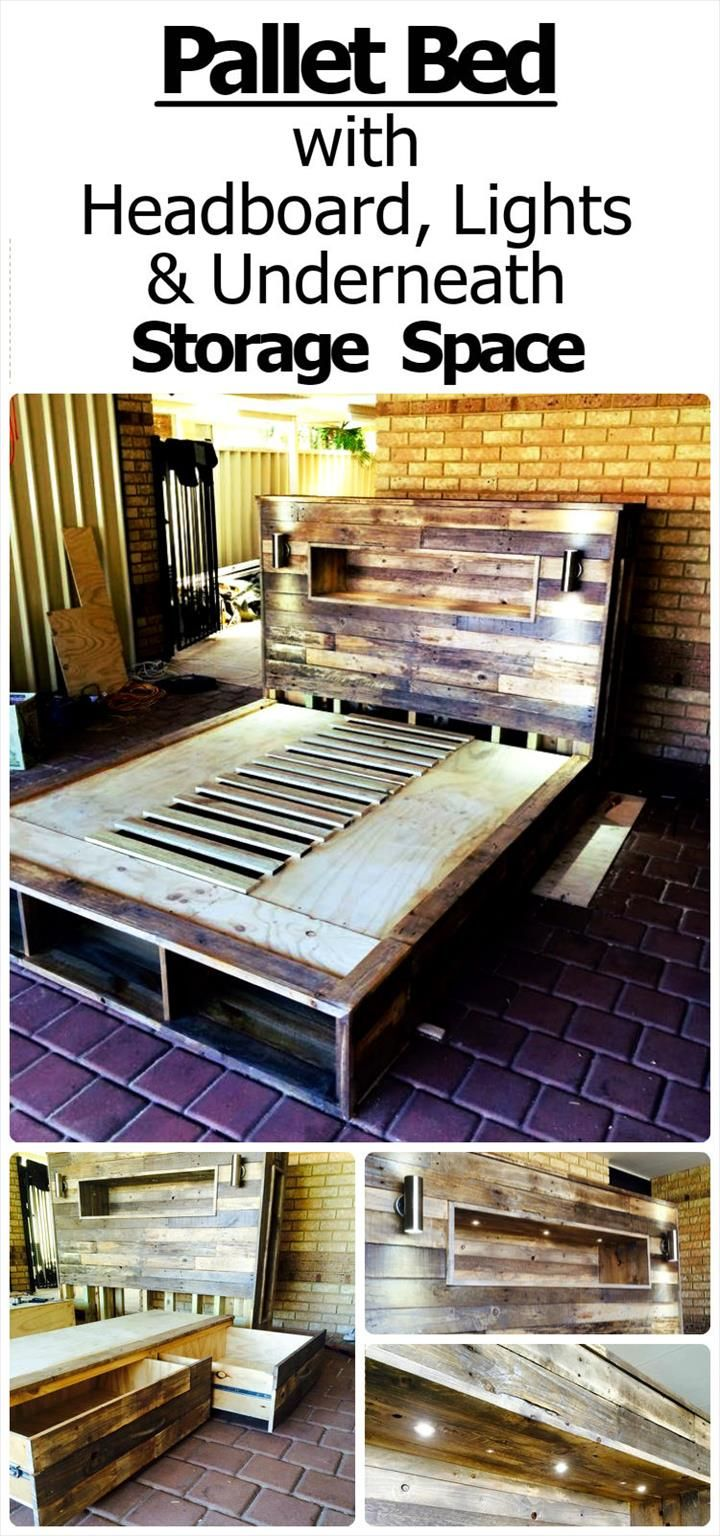 Diy pallet bed with headboard lights and underneath storage space