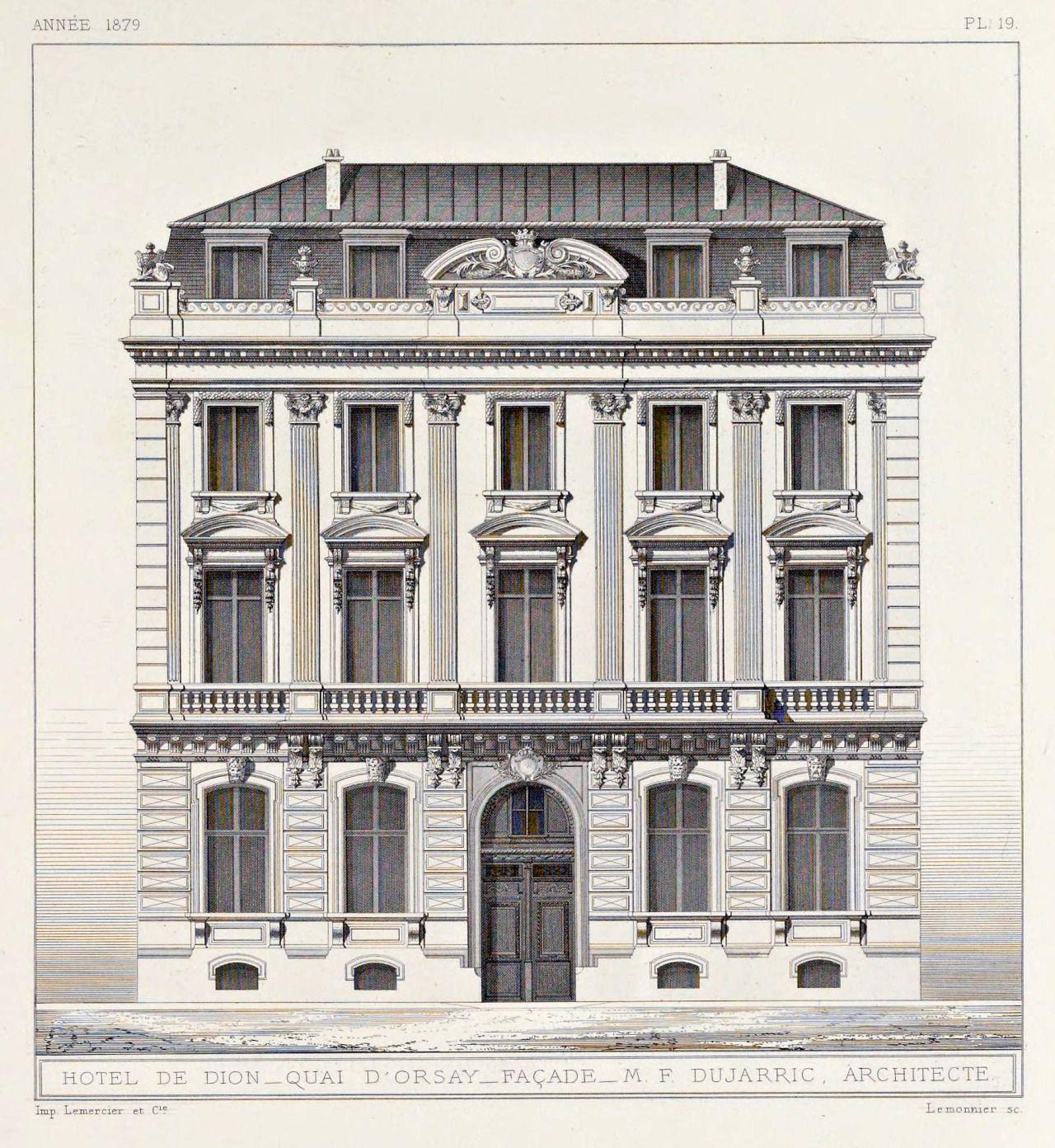 Elevation of the hotel de dion on the quai d orsay paris for Architecture classique