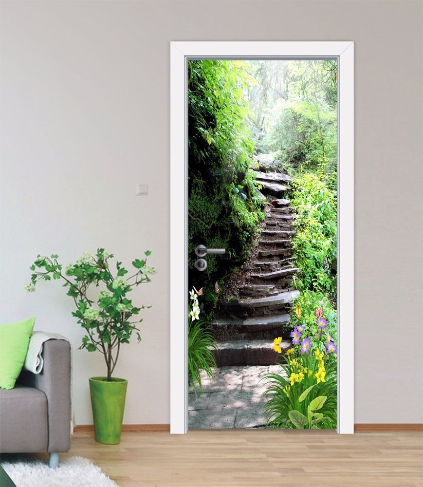3D Stone Steps Door Wall Mural Photo Wall Sticker Decal Wall AJ